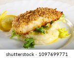 baked cod fish with mashed... | Shutterstock . vector #1097699771