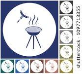 barbecue sausage icon. vector... | Shutterstock .eps vector #1097713355