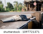 old glove was left on working...   Shutterstock . vector #1097721371