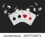 playing cards and poker chips... | Shutterstock .eps vector #1097724071