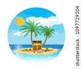 pirates treasure island with... | Shutterstock . vector #1097729204