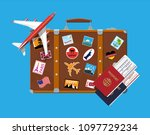 travel suitcase with stickers... | Shutterstock . vector #1097729234