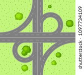 top view of road junction.... | Shutterstock .eps vector #1097734109