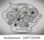 piggy bank icon and tooth wheel ...   Shutterstock . vector #1097735405