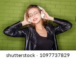 fashion portrait of beautiful...   Shutterstock . vector #1097737829