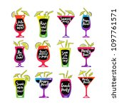 party cocktails doodle icons...   Shutterstock . vector #1097761571