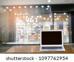 modern blank screen laptop on... | Shutterstock . vector #1097762954