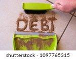 sweep debt clean concept with... | Shutterstock . vector #1097765315