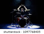 drummer playing the drums with... | Shutterstock . vector #1097768405