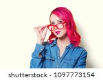 young pink hair girl in blue... | Shutterstock . vector #1097773154