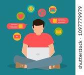 social media communication  man ...   Shutterstock .eps vector #1097779979
