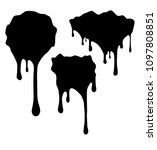 set of 3 black decors with... | Shutterstock .eps vector #1097808851