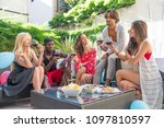 multiethnic group of friends... | Shutterstock . vector #1097810597