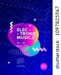electronic music poster design. ... | Shutterstock .eps vector #1097825567