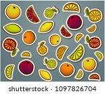 citrus doodles lemon  lime ... | Shutterstock .eps vector #1097826704