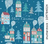 christmas card  cute little... | Shutterstock .eps vector #109784024