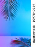 tropical and palm leaves in... | Shutterstock . vector #1097840369