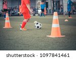 soccer ball tactics on grass... | Shutterstock . vector #1097841461