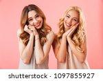 two pleased pretty women in... | Shutterstock . vector #1097855927