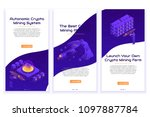 set of isometric crypto mining... | Shutterstock .eps vector #1097887784