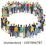 a group of people form a circle ... | Shutterstock . vector #1097896787