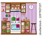 cozy kitchen with plenty of... | Shutterstock .eps vector #1097907197