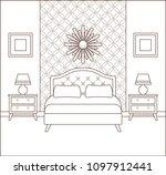 bedroom interior. hotel room.... | Shutterstock .eps vector #1097912441