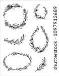 wedding flower frames | Shutterstock .eps vector #1097913689