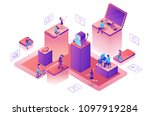 chatbot service isometric... | Shutterstock .eps vector #1097919284