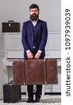 man  traveller with beard and... | Shutterstock . vector #1097939039