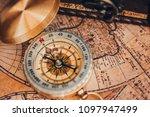 closeup old gold vintage... | Shutterstock . vector #1097947499