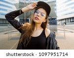 beautiful lady in fashion... | Shutterstock . vector #1097951714