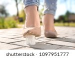woman stepping in chewing gum...   Shutterstock . vector #1097951777