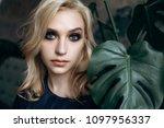 the elegance girl stands near... | Shutterstock . vector #1097956337