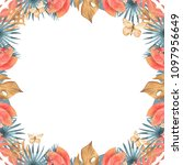 hand drawn watercolor tropical... | Shutterstock . vector #1097956649