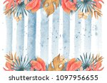 hand drawn watercolor tropical... | Shutterstock . vector #1097956655