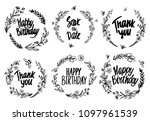 set of floral wreath with wild... | Shutterstock .eps vector #1097961539