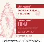 premium quality fish fillets.... | Shutterstock .eps vector #1097968697