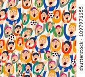 football vector fans  cute... | Shutterstock .eps vector #1097971355