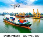 aerial view of ship cargo... | Shutterstock . vector #1097980109