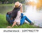 asian woman tourists backpacker ... | Shutterstock . vector #1097982779