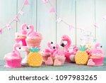 flamingo ananas cookies for...   Shutterstock . vector #1097983265