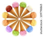 mixed ice creams in cones on... | Shutterstock . vector #109798865