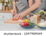 couple cooking  in the kitchen  ...   Shutterstock . vector #1097989049