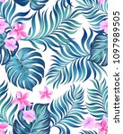 seamless hand drawn exotic... | Shutterstock .eps vector #1097989505