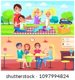 picnic and cafe poster happy... | Shutterstock .eps vector #1097994824