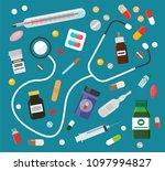 medicines in pills or syrups... | Shutterstock .eps vector #1097994827