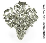 Explosion Of Money Isolated On...