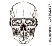 skull contour sketch for tattoo ... | Shutterstock .eps vector #1098022637