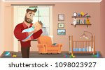 father holding son at home... | Shutterstock .eps vector #1098023927
